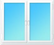 Plastové okno dvojdílné 1400x1350 bílá/bílá | levé, pravé výklopné | dvojsklo, klika bílá