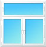 Plastové okno dvojdílné poutec 2500x2500/650 bílá/bílá | levé, pravé výklopné, sklopné | bezpecnostni, klika bílá