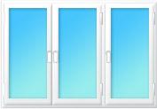 Plastové okno trojdílné pravý sloupek 2400x1200 zlatý dub/bílá | levé, pravé, pravé výklopné | dvojsklo, klika bílá | parapet vnější bílá 210mm